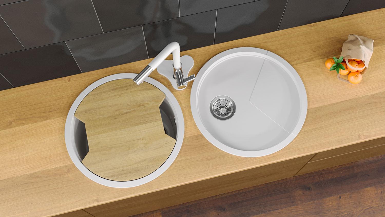 """Кварцевая мойка для кухни <span style=""""color:#d91f43"""">Duo Spring</span>"""