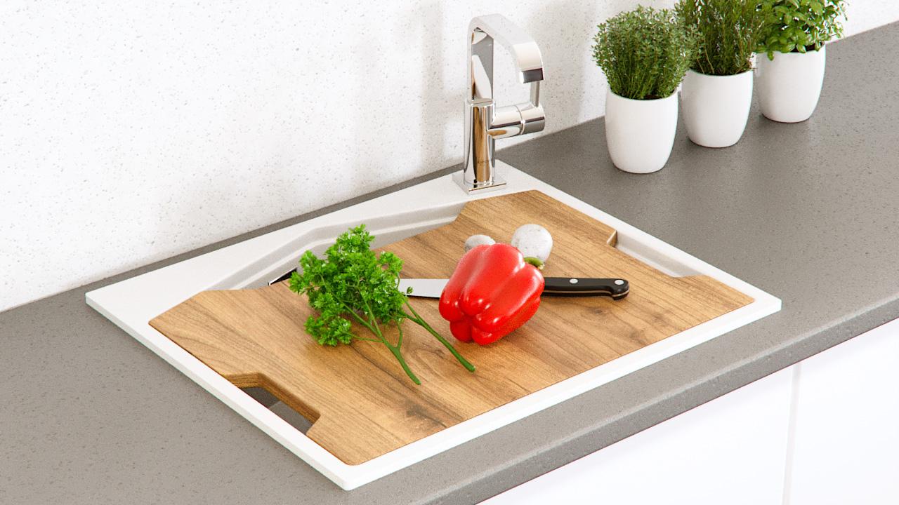 """Кварцевая мойка для кухни <span style=""""color:#d91f43"""">Ocean</span></br> с антибактериальной разделочной доской"""