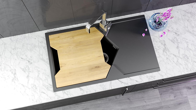 """Кварцевая мойка для кухни <span style=""""color:#d91f43"""">Sea</span></br> с антибактериальной разделочной доской"""